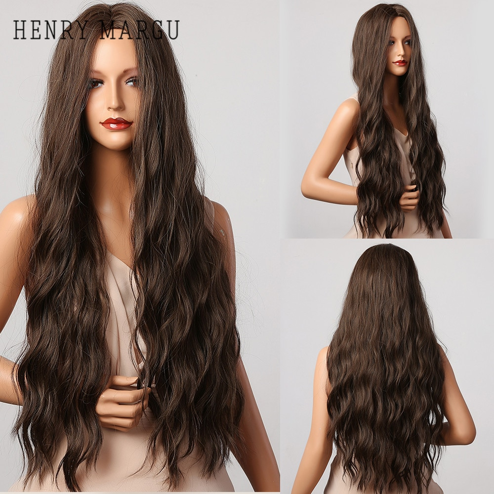 HENRY MARGU Dark Brown Wave Wigs Long Synthetic Wavy Natural Hair Temperature Wigs For Black/White Women Daily Cosplay Wigs