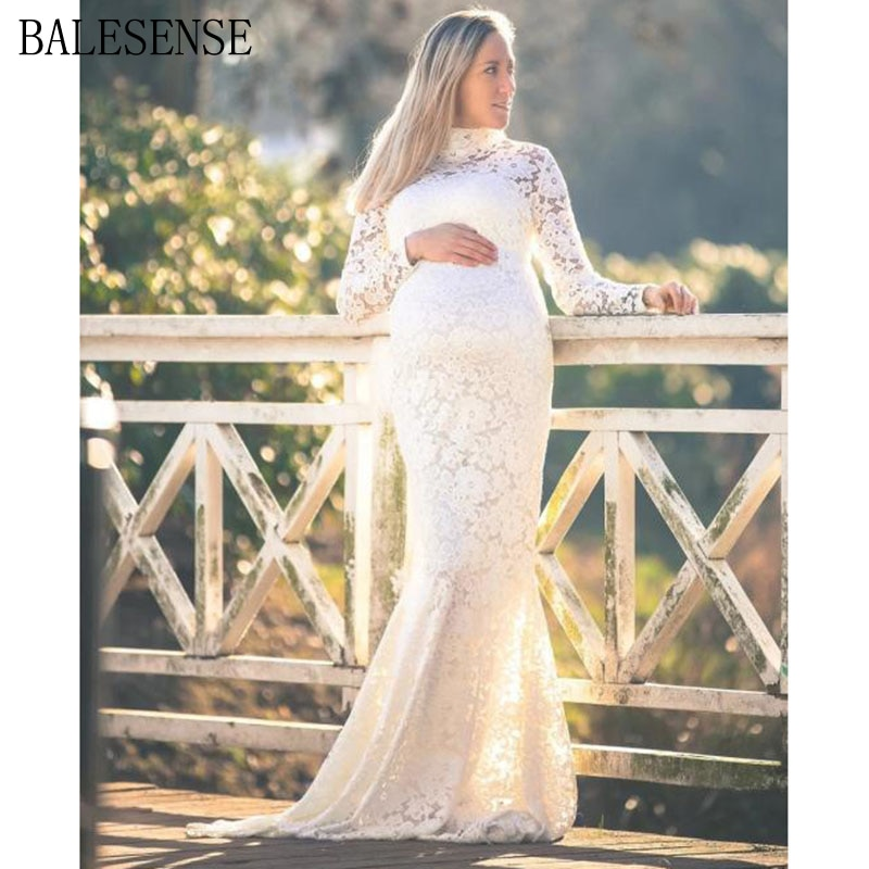 Lace Maxi Gown Maternity Dresses for PhotoShoot Elegant Pregnant Women Long Sleeve Turtleneck Baby Shower Dress Photography Prop enlarge