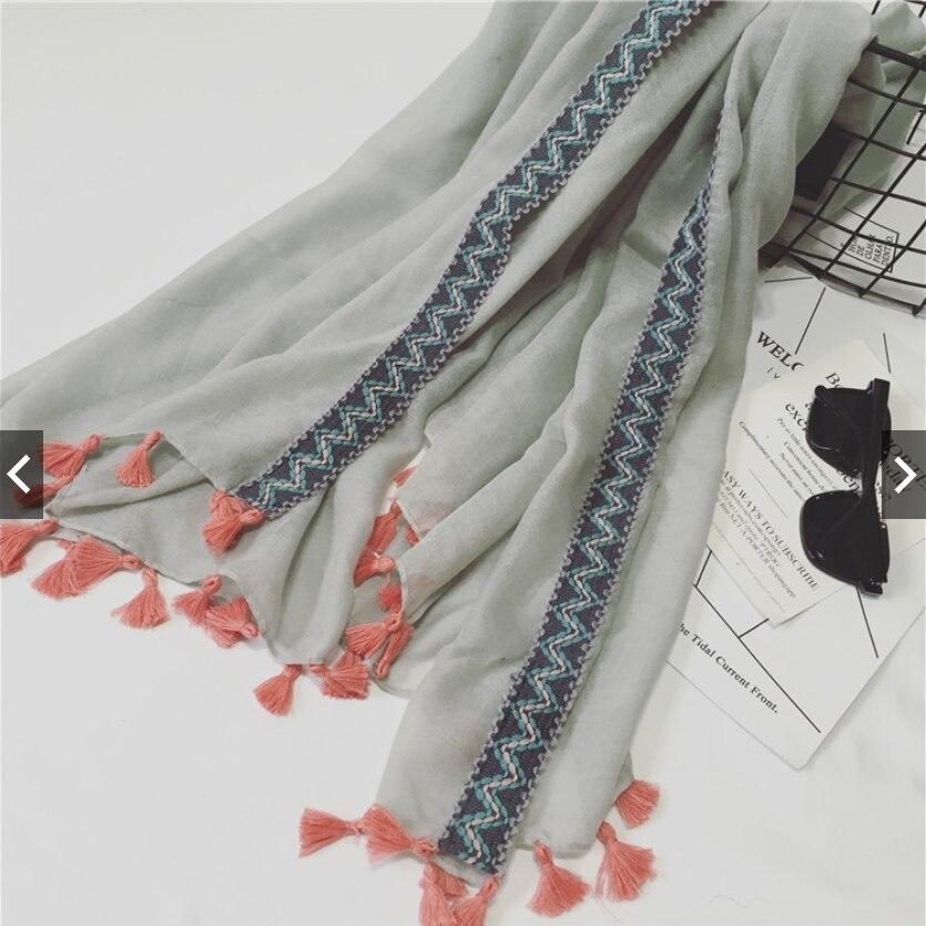 2021 Newest Women Fashion Scarf Shawls Wraps Hijabs Solid Color Tassel Scarf