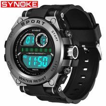 SYNOKE Trend Mens Anti Fall Big Screen Multi Function Luminous Electronic Watch 30M Waterproof Luminous relogio masculino Q