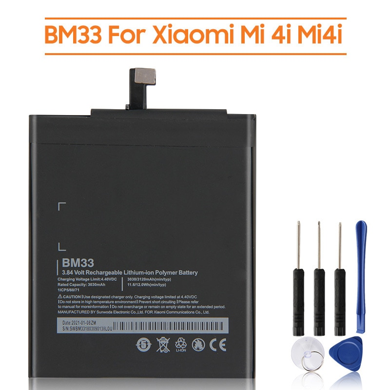 Сменный аккумулятор BM33 для Xiaomi Mi 4i Mi4i, аккумуляторная батарея для телефона 3120 мАч
