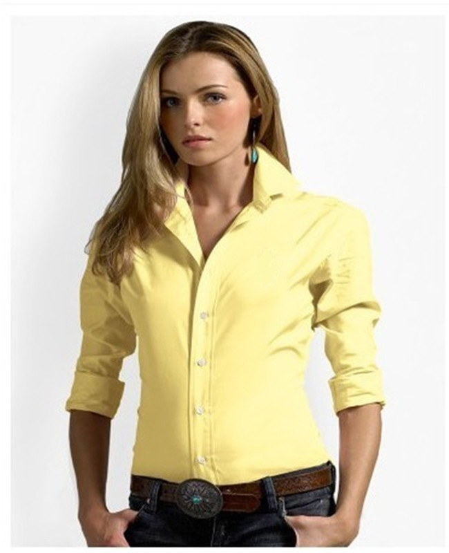 Camisa de algodón de 100% Polo de Pony grande para mujer, Camisa Masculina de manga larga para mujer, Camisa informal a la moda para mujer