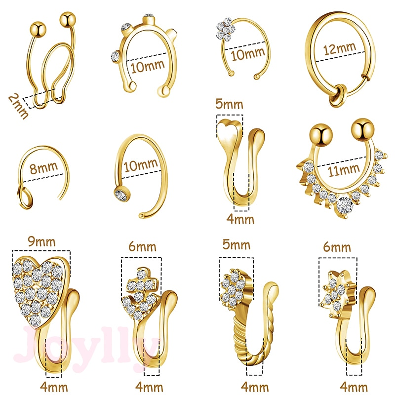1Piece Stainless Steel Fake Nose Ring Heart Flower Crystal U Shaped Clip On Nose Ring Hoop Septum Non Piercing Body Jewelry Gift