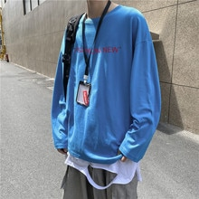 round Neck Letter Print Long-Sleeve T-shirt Men Korean-style Stylish Spring and Autumn Ins Kong Styl