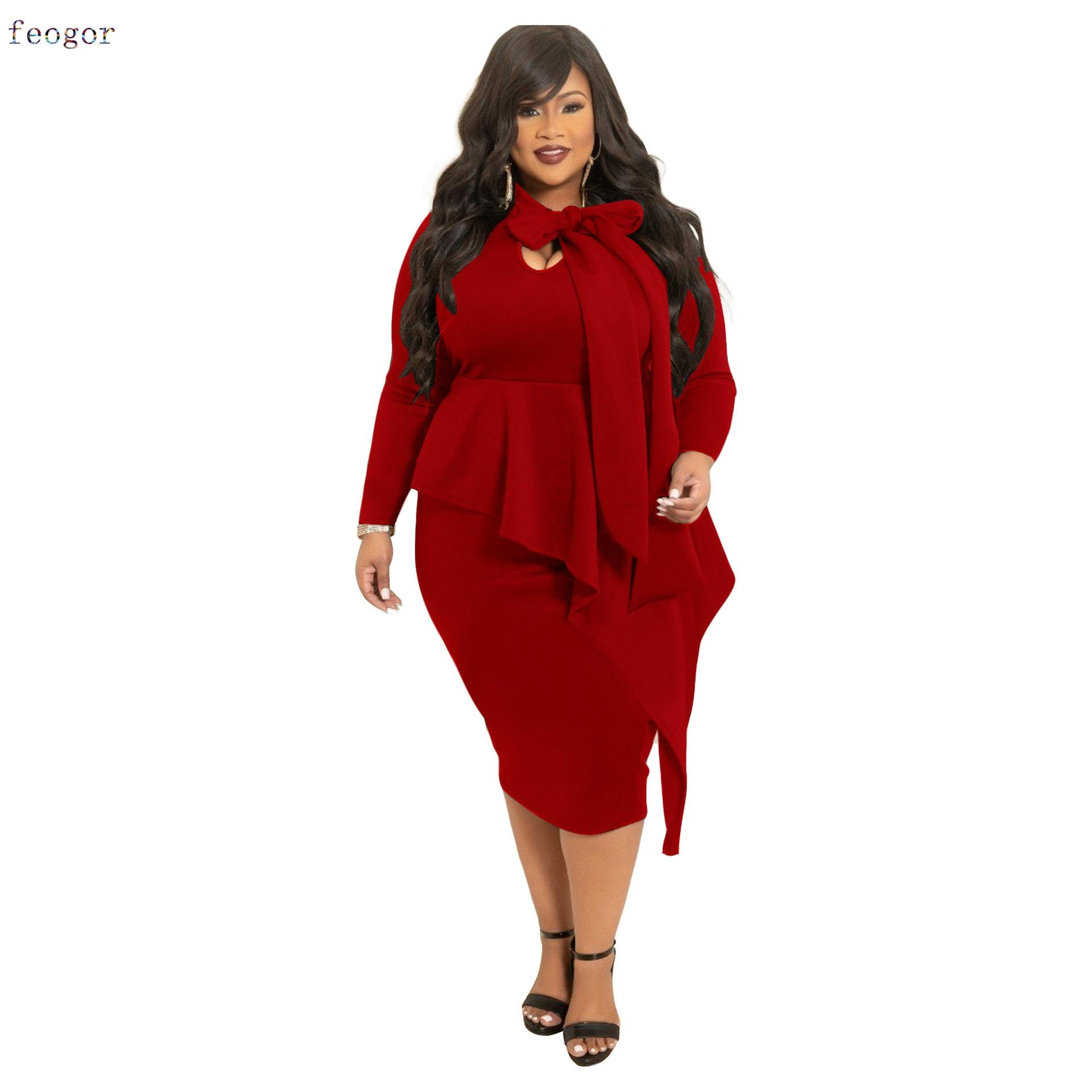 Women's Clothing Plus Size Dresses 2021 Autumn Winter New Bowknot Dress Female Urban Commuter Casual Fashion Long Sleeve Dress 5xl plus size sexy dress pullover bodycon casual fashion female autumn spring home clothes long oversized dresses indian new