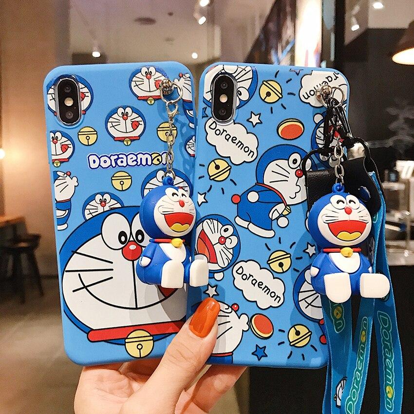 Carcasa de TPU Doraemon azul con soporte para correa de teléfono, funda de cuerda para Samsung A20 50 70 51 71 20s 30 70s A6 A7 A8 J6 2018