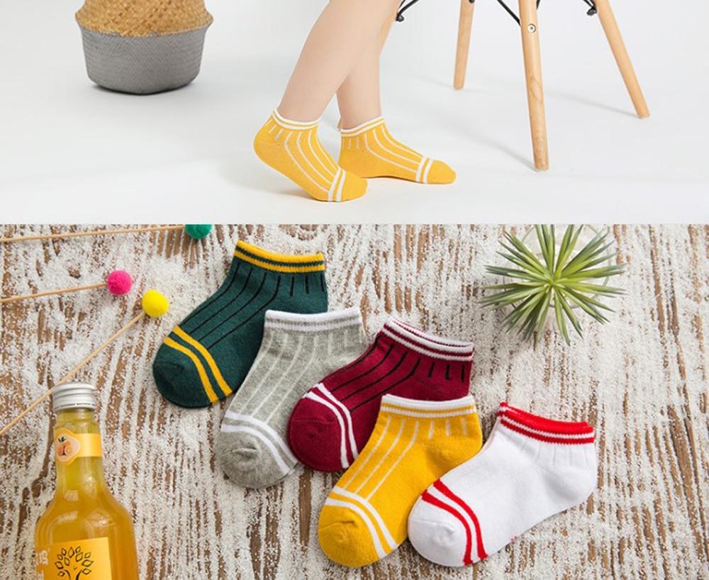 Kids Cotton Socks Spring Summer Girls Love Heart Short Sock Toddlers Boys Sport Strips Footwear 5 Pairs Cheap SandQ Baby New