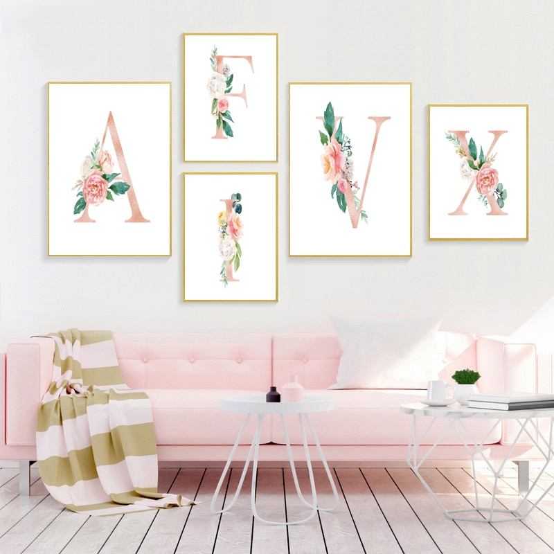 26 letras personalizada bebé niña regalo de niña personalizado nombre signo lona pintura Floral monograma flores cartel decoración de la pared