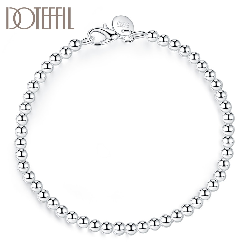 DOTEFFIL 925 Sterling Silver 4mm Smooth Beads Bracelet For Women Fashion Wedding Engagement Party Charm Jewelry doteffil 925 sterling silver butterfly aaa zircon bracelet for women fashion wedding engagement party charm jewelry