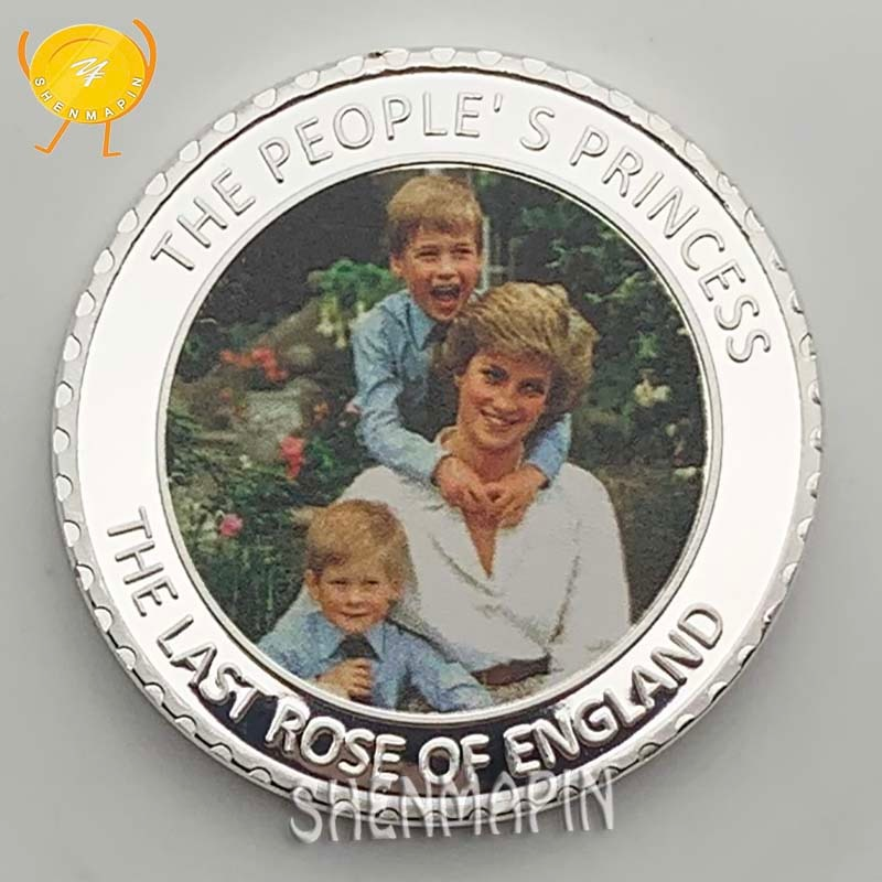 Princess Diana,Prince William and Prince Harry Commemorative Coin The People of England's Princess Silver Coins Collectibles