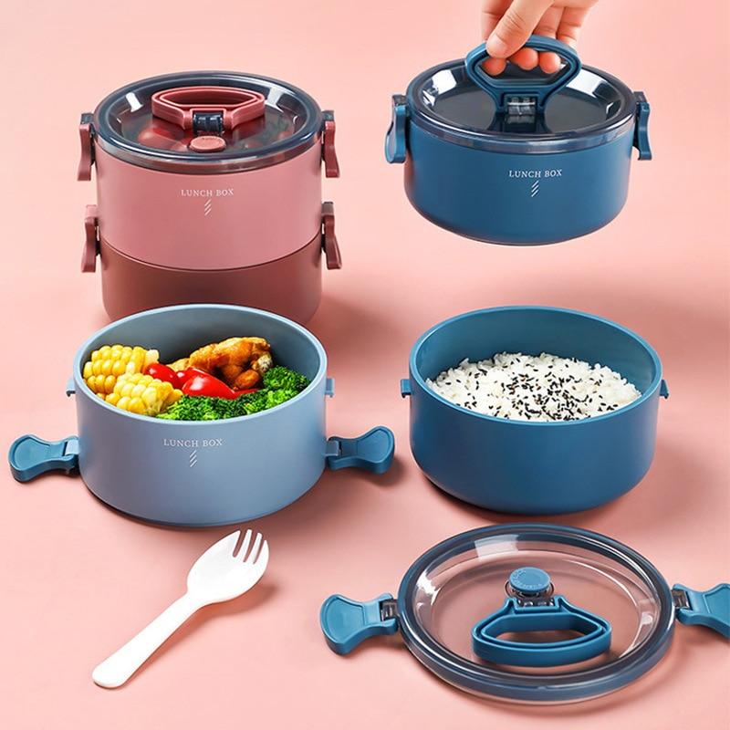 الميكروويف علب لحمل الغذاء مانعة للتسرب الغذاء الحاويات المقصورات المحمولة اليابانية بينتو صندوق أدوات المائدة 800 مللي/1600 مللي R2042