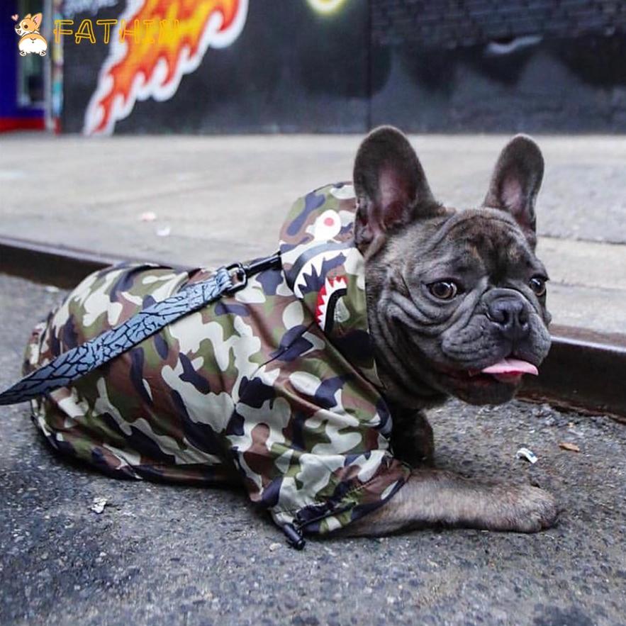 Модная одежда для собак Adidog камуфляж Французский бульдог Pupreme Рубашка Собака Камуфляж ветровка Спорт ретро для собак Толстовка с капюшоном ...