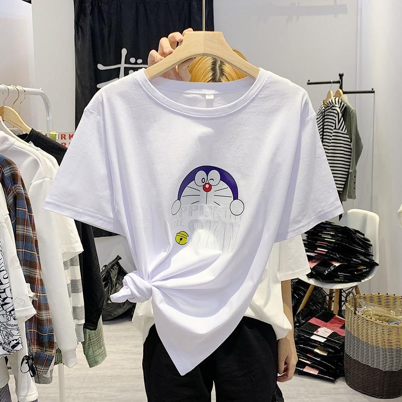 Verano hip hop divertido Doraemon Impresión de Anime hombres camisetas de Harajuku ropa Oversized loose Vintage o-Cuello nuevo jersey sweetwear