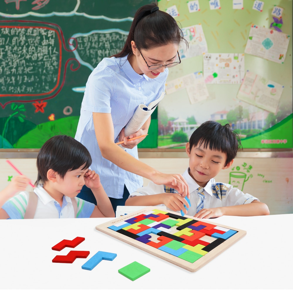 colorful cognition board kids montessori educational toy children wooden jigsaw color match game board puzzles child wooden toy Montessori Kids Wooden Tetris Puzzle Toys Colorful Jigsaw Board Game Children Brain Teaser Intellectual Learning Educational Toy