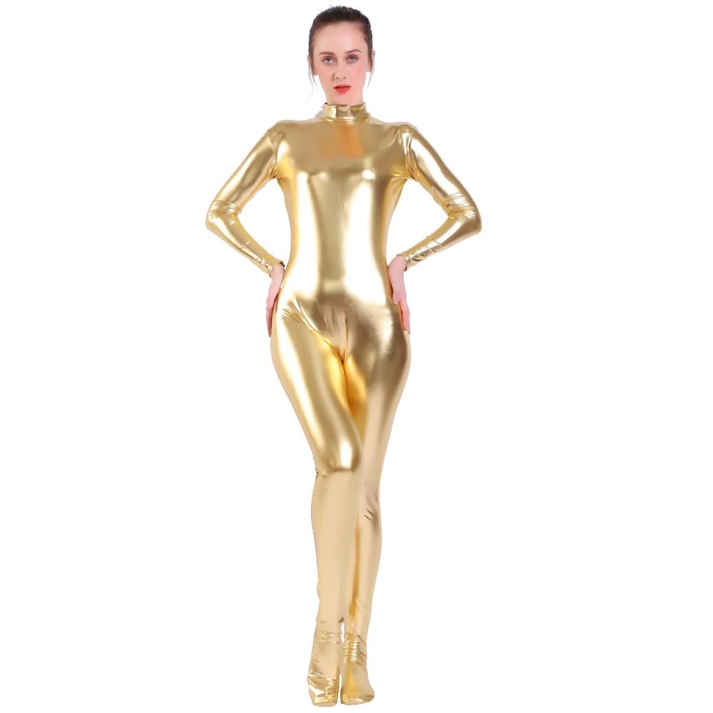 2020 New  Women  Suit Gold Shiny Metallic Tights Gold Zentai Suit Full Body Unitard Custom Skin Bodysuit Zipper Back  bodysuit