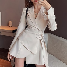 Blazer dress ladies mini party fashion ladies elegant dress ladies one dress Korean belt long sleeve