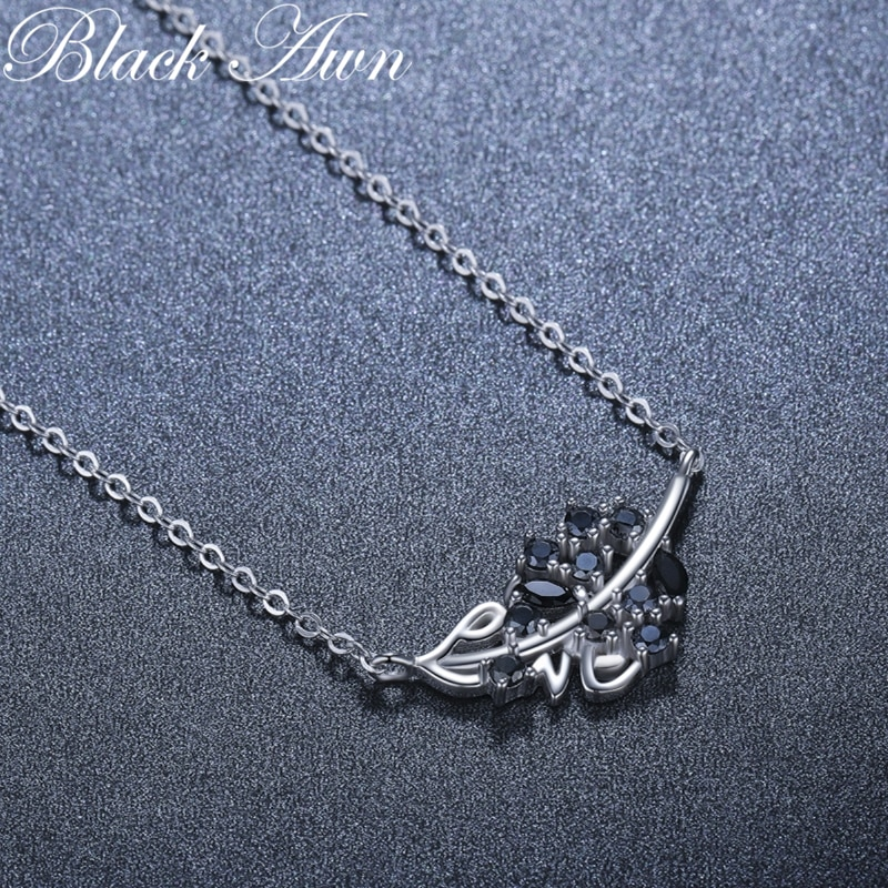 2021 New Black Awn Silver Necklace Genuine 100% 925 Sterling Silver Necklace Women Jewelry Leaf Pendants P204