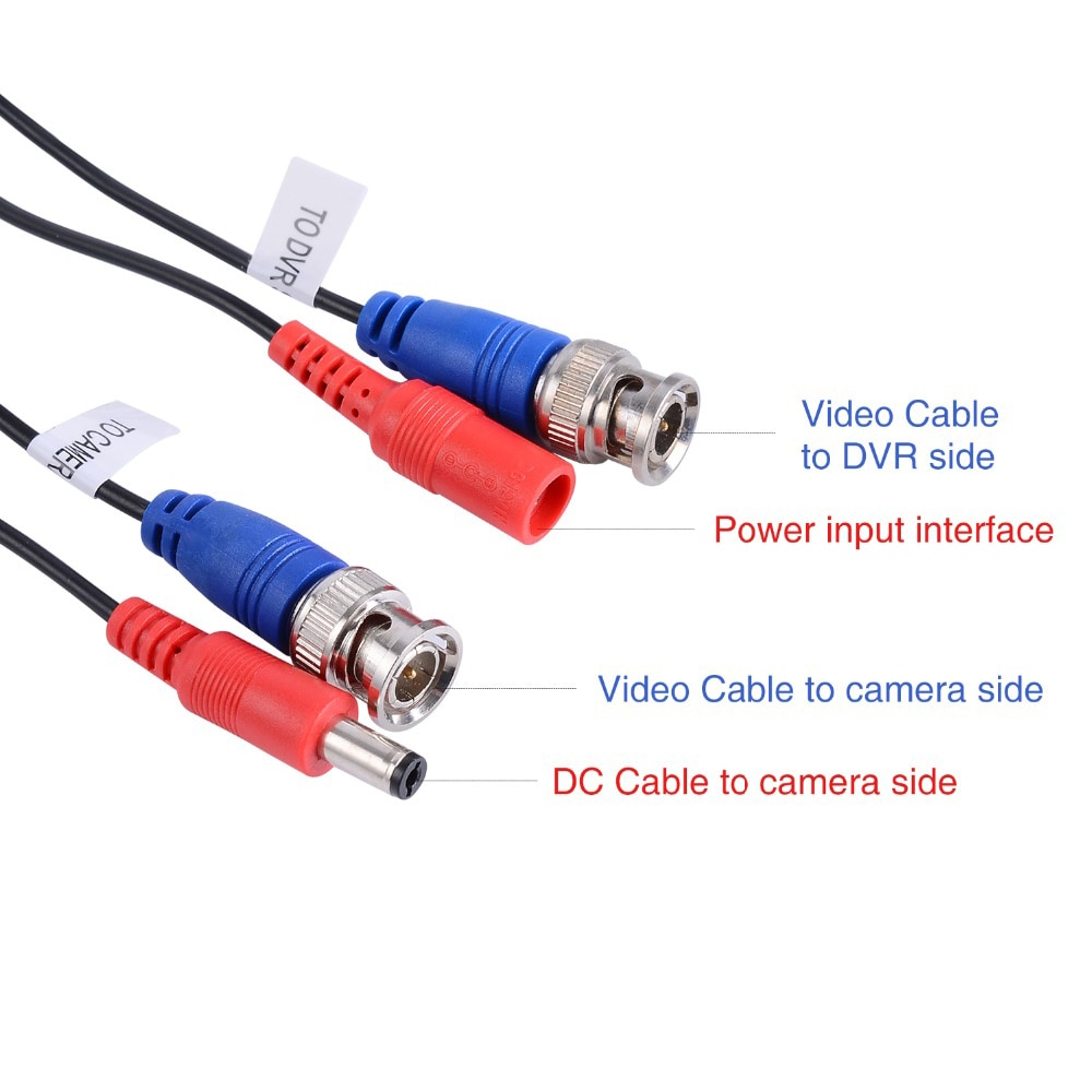 4PCS 30m/100ft BNC&DC Plug Video Power Cable with 1pcs 4-in-1 power splitter cable for AHD Video Surveillance System Accessories enlarge