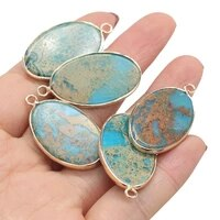 charm natural stone pendant elegant texture blue ocean mine oval charms for jewelry making diy necklace accessories 20x35mm 1pc