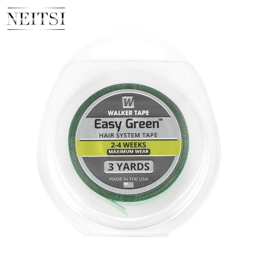 Fita adesiva lateral dobro para extensões de cabelo 1 rolo cor verde neitsi 1.9cm * 3 jardas walker fita fácil sistema de cabelo verde