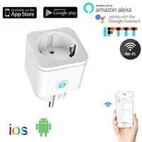 Tuya     prise intelligente WiFi  ue  16a  240V  adaptateur sans fil  telecommande vocale  moniteur dalimentation  minuterie  pour Google Home  Alexa