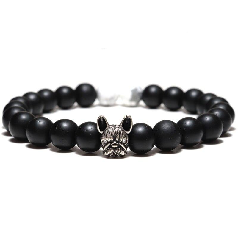 2020 pulseras de moda para hombres, pulsera con dije de Bulldog Francés Vintage, pulsera de piedra de ojo de tigre de Lava Natural, accesorios de Braslet con cuentas de animales