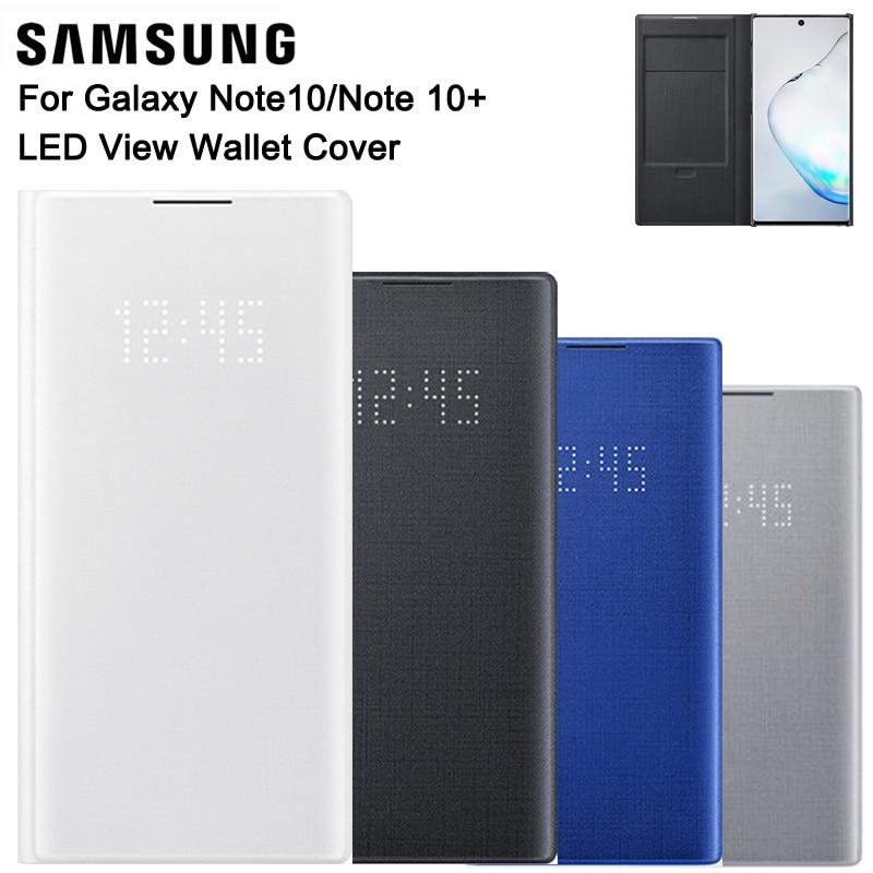 Samsung-غطاء محفظة أصلي LED View ، جراب حماية مع جيب بطاقة وظيفة النوم ، لهاتف Galaxy Note 10 Plus و Note10 5G و Note X