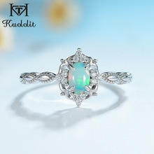 Kuolit-bague en pierre précieuse opale naturelle, argent Sterling 925, pierre de feu, bague taille 10, cadeau de mariage, fiançailles, bijoux fins