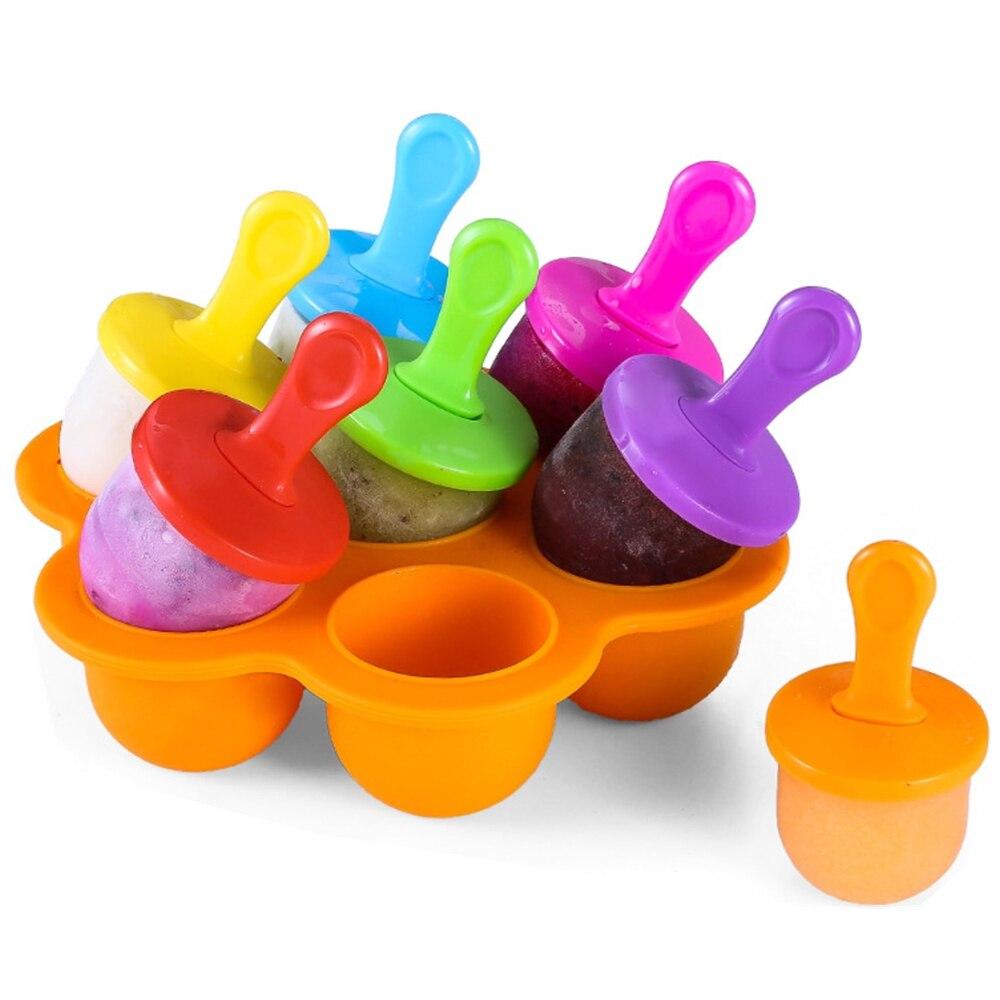 De silicona 7 agujeros Mini hielo molde de hielo crema bola Lolly fabricante de helado moldes bebé DIY comida herramienta complementaria fruta batido hielo Crea