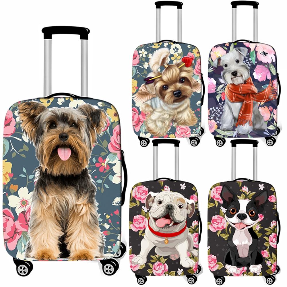 Cubierta de equipaje para perro Yorkshire Terrier/bulldog Francés, cubierta protectora para maleta de mujer, cubierta de carrito de viaje antipolvo