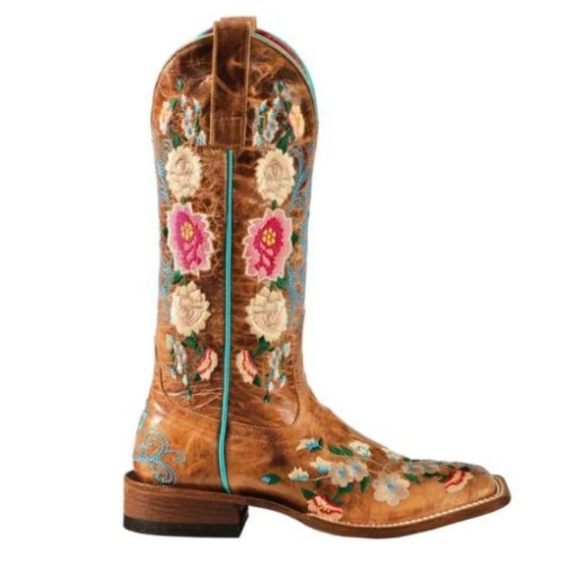 جديد إمرأة بولي Leather جلد اليدوية التطريز روز حديقة أحذية كاوبوي ساحة كعب مربع رئيس عميق الخامس الفم الرجعية موضة 8KH399