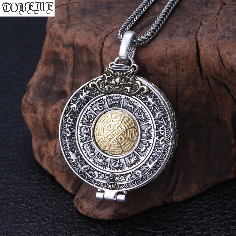 NEW 925 Silver Tibetan Gau Pendant Necklace Sterling Buddhist Vajra Box Pendant Tibetan Nine Direction Eight Symbols Gau Pendant