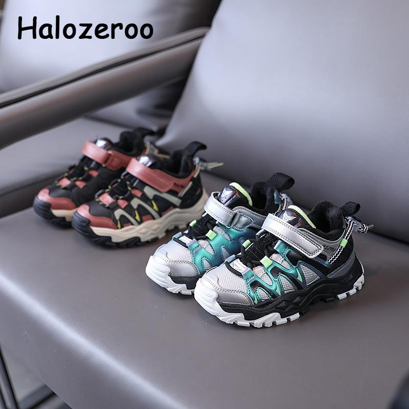 شتاء جديد الاطفال أحذية رياضية طفل الفتيان الدافئة ماركة أحذية الأطفال الأخضر أحذية رياضية كاجوال بنات لينة مكتنزة أحذية رياضية المدربين