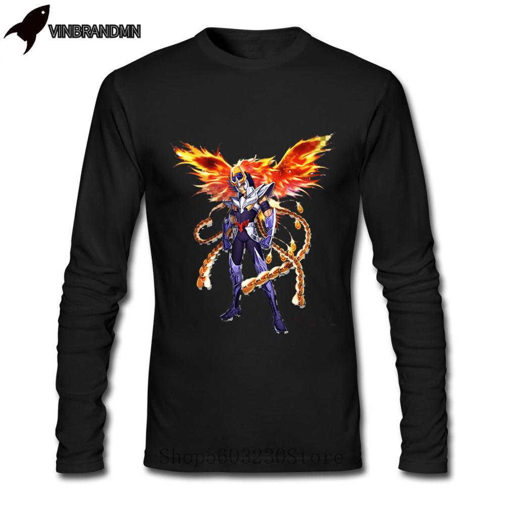 Novedad de 2020 en ropa para hombre Ikki Phoenix Saint Seiya, camisetas de manga larga de algodón puro con cuello redondo para caballeros del Zodíaco para hombre