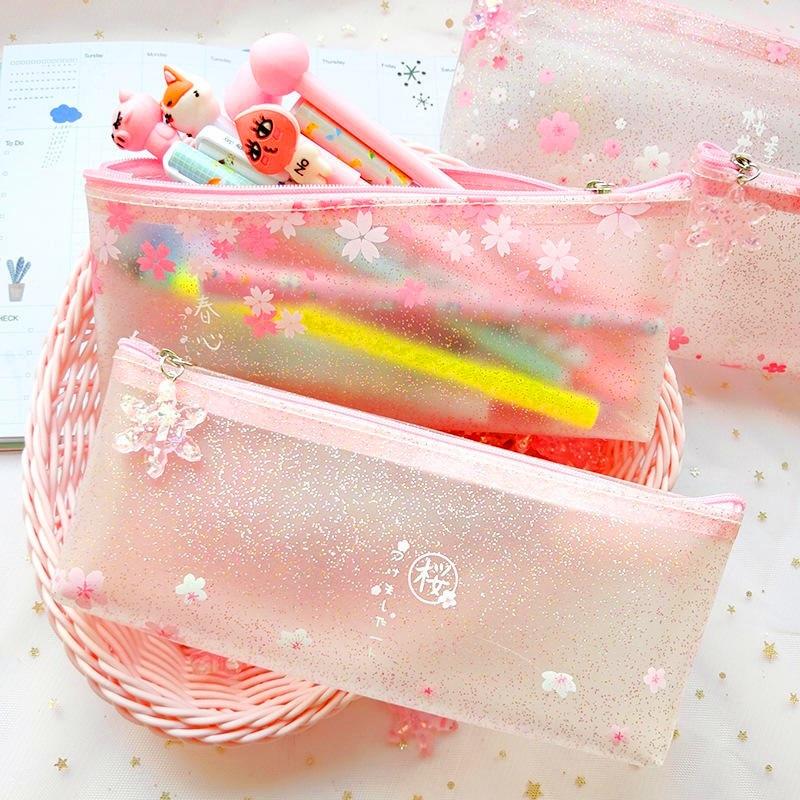 1 Pcs Rosa transparente caja de lápiz de Kawaii japonés Sakura flor TPU de lápiz de la escuela, bolsa de caja para las niñas regalo suministros