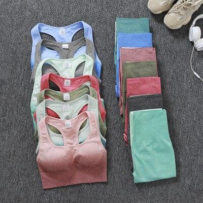 Yoga Seamless Women 2PCS Quick Dry Tight Sports Bra +Leggings Workout Gym Suit Fitness Sets Seamless Rib Yoga Set Sport