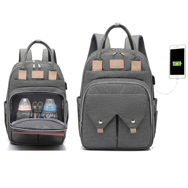 Новая USB Водонепроницаемая сумка для подгузников для мам, рюкзак для подгузников для мам, органайзер для детских колясок, сумка для пеленани...