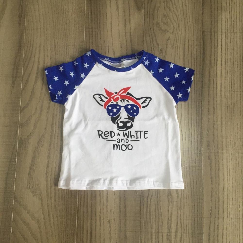 Azul bebê meninas T-shirt do bebê crianças roupas de verão manga curta vermelho com bolinhas brancas galo no meio