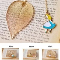 alice golden hollow leaves cartoon characters bookmark clock key chain cute rabbit key chain practical accessories womens gift