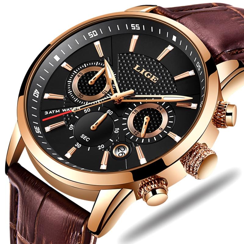 Reloj Hombre 2020 New LIGE Busines Watch Men Fashion Sport Quartz Clock Mens Watches Brand Luxury Leather Waterproof Chronograph