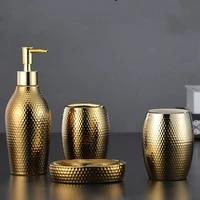 4 pcs lot nordic golden ceramic wash set bathroom accessories soap dispenser toothbrush holder bathroom supplies
