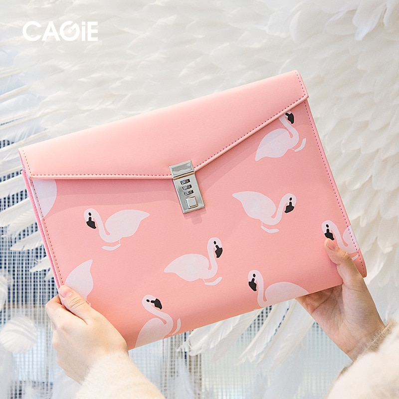 A4 Document File-Folder Padfolio Password Lock Briefcase PU Leather Executive Cabinet Office Supplies Manager Bag Organzier Gift