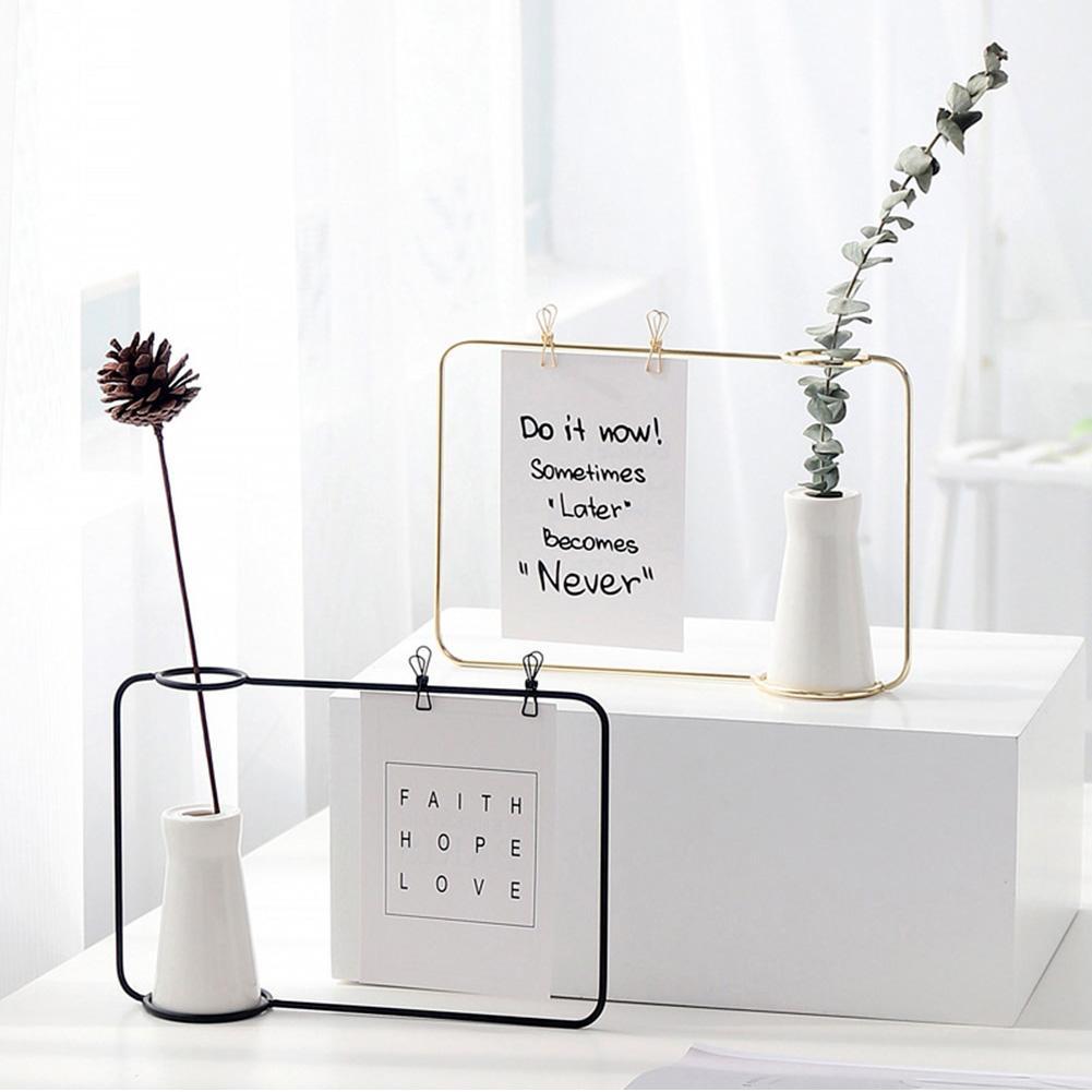 De moda transparente foto titular de soporte de la botella de la flor de vida de la familia decoración de la habitación de Maison casa accesorios de decoración florero