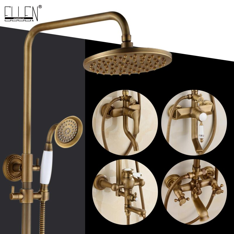 Bathroom Rain Shower Set Antique Bronze Wall Mounted Bath Shower Faucets with Hand Shower Wall Mounted EL0628 bath wall shower set black bathroom shower taps with handshower wall mounted sqaure rain ceiling shower bathtub mixers els89