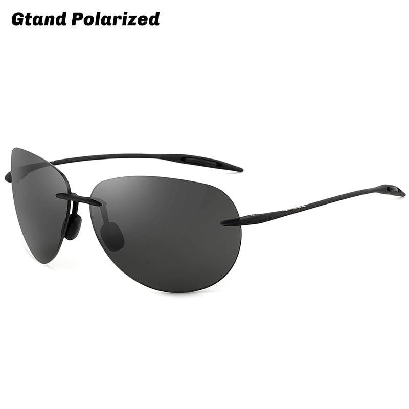 Gtand Rimless Pilot Sugar Beach Style Ultralight TR90 Polarized Sunglasses For Men Sports Driving Br