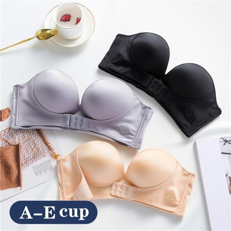 2pcs Women Sexy Strapless Plus Size Invisible Bra Push Up Front Closure Bralette Underwear Lingerie Seamless Brassiere DE Cup