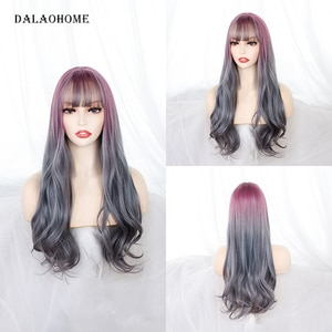 Dalaohome Synthetic Lolita Colorful Wig With Bangs Long Wavy Heat Resistant Fiber Ombre Wigs For Woman Party Natural Hair Daily