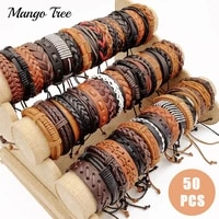wholesale 50pcs fashion mixed leather bracelet retro handmade weave bangle for men and women party wristband accessories jewelry