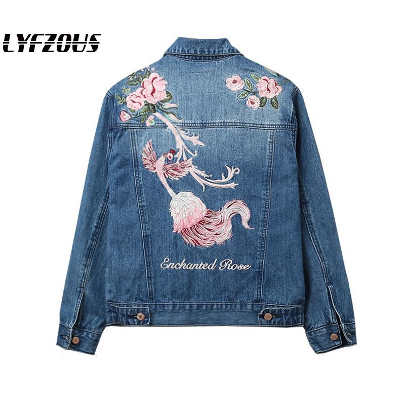Nova jaqueta jeans feminina phoenix flor bordado jeans jaquetas primavera outono estudante senhora outwear streetwear básico denim casacos
