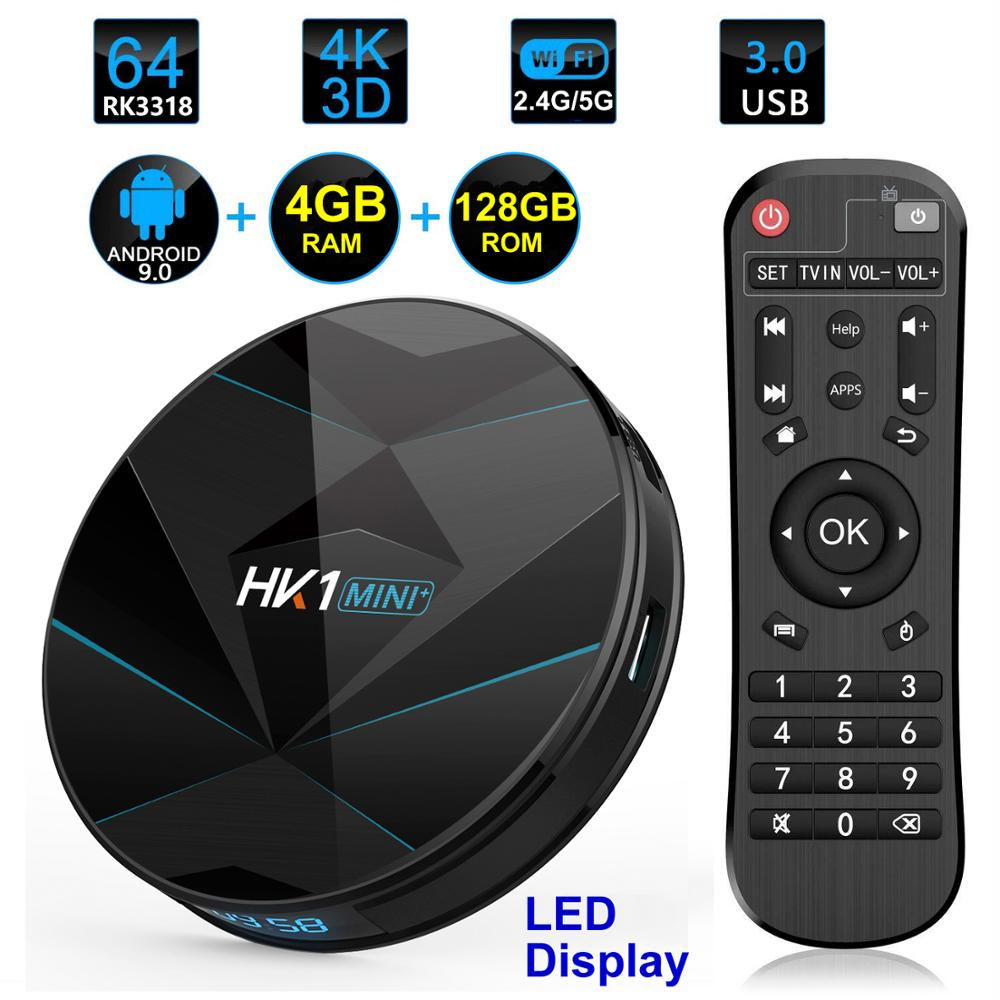 HK1 MINI Plus Dispositivo de TV inteligente Android 9,0 RK3318 4GB RAM 128GB ROM 2,4G/5G Dual WIFI BT4.0 3D 4K HDR H.265 USB3.0 pantalla Digital